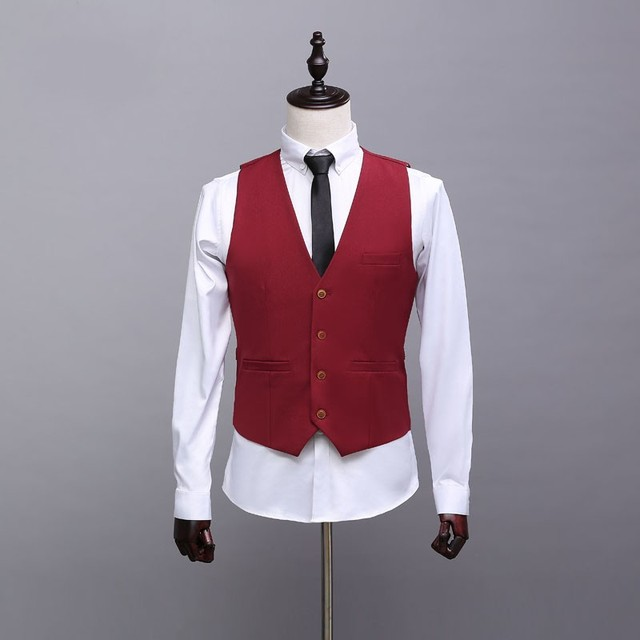 2016 Hot Sale Burgundy Men's Casual Waistcoat Single-Breasted Custom Color 4 Bottons Separate Vest for Formal Occasion