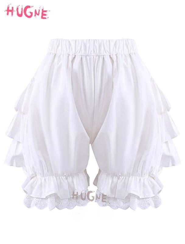 Girls Cotton Sweet Lolita Ruffles Maid Pumpkin Shorts Japanese Lolita Fashion Bloomers