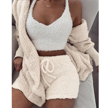 Solid Beige Plush Women Set Casual Long Sleeve Turn down Collar Cardigan Jacket With Short Pants Outwear Suit Female Set Women