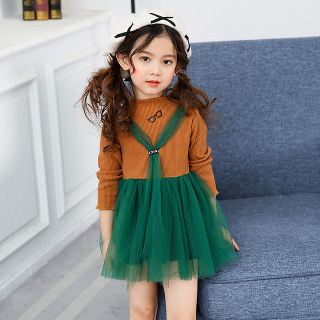 11fa6e9e4 2017 Autumn Spring Korean Fashion style baby girls dress long ...