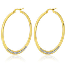 45mm Creative Gold Color High Quality White Crystal Stud Earrings For Women Men Stainless Steel Fashion Jewelry