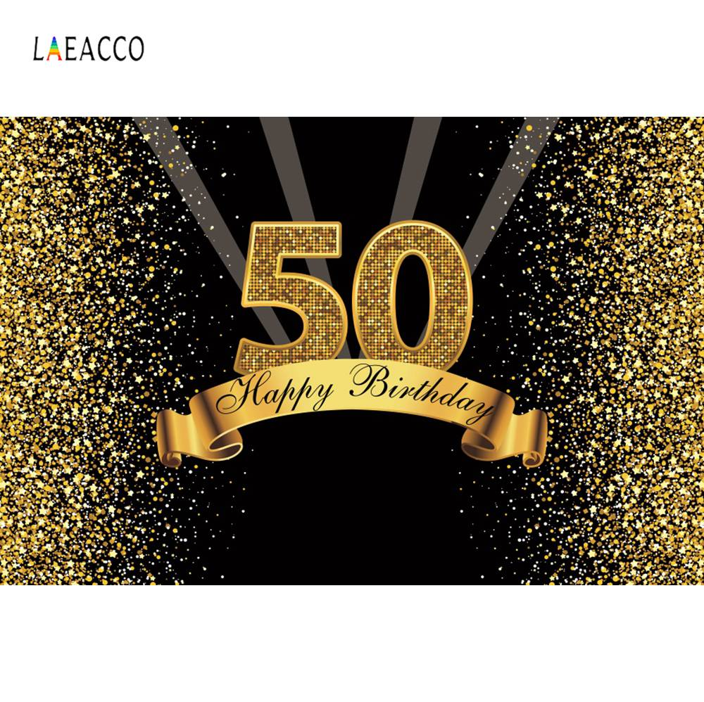 Happy 50th 40 <font><b>30</b></font> <font><b>25</b></font> 18 Birthday Party Gold Polka Dot Sequins Poster Photography Backdrop Photo Background Photocall Photo Studio image
