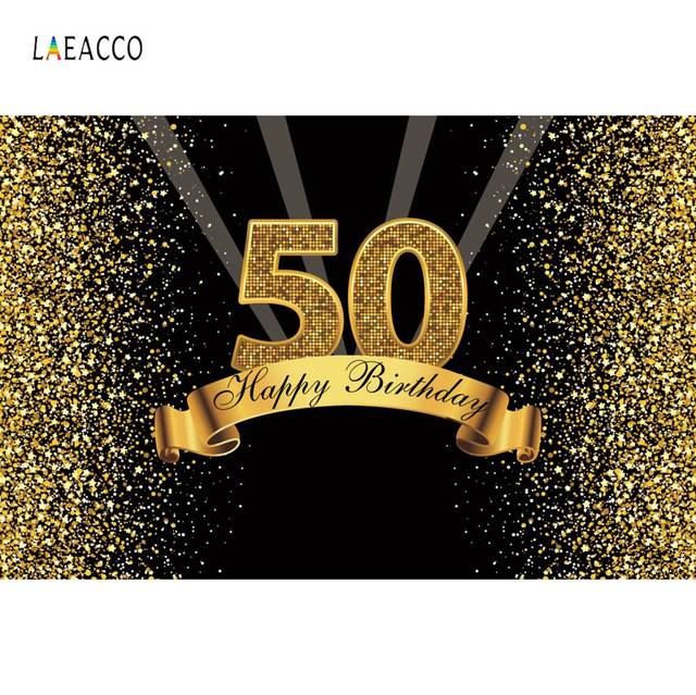 Happy 50th Birthday Party Gold Polka Dots Sequins Poster Portrait Photography Backdrops Photo Backgrounds Photocall Photo Studio