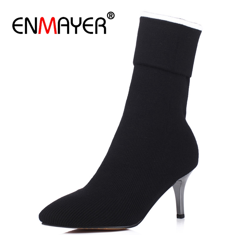 ENMAYER New Black Shoes Woman Big Size 34-43 Pointed Toe Slip-on Mid-calf Boots for Women Spring and Autumn Fashion Boots CR584