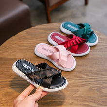 AFDSWG PU kids sandals pink low heel children girl shoes green princess slippers black flip flops for girls