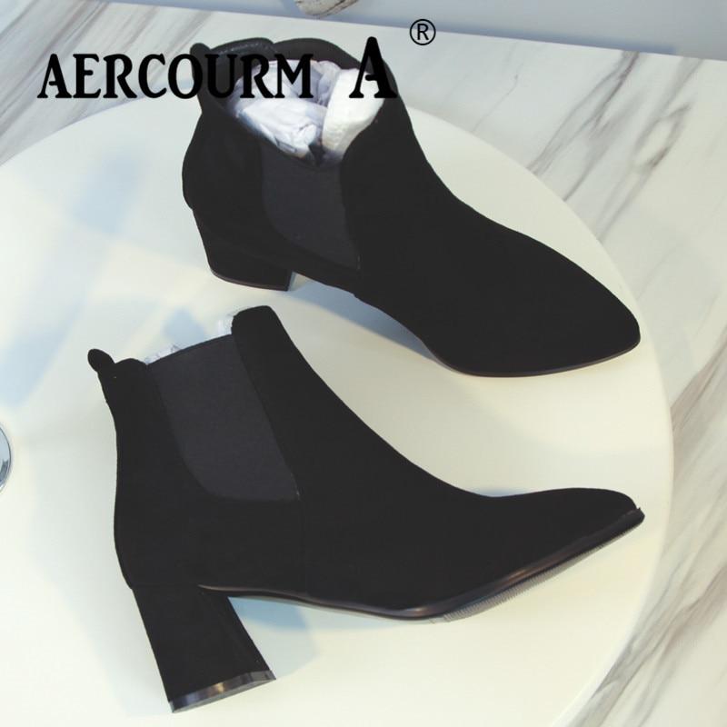 Negro Botines A Botas La De Mujeres Invierno Zapatos Aercourm Corta Cuero Vaca Señora Nuevos 2018 Felpa Ante SnPHxwwOW