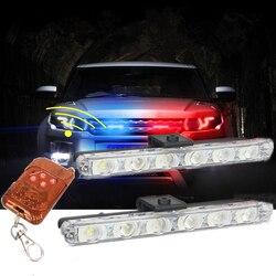 Samochód stylizacji bezprzewodowy pilot 6 LED pogotowia światło policyjne Controll Flasher samochód stroboskop ostrzeżenie awaryjne zewnętrzne światło policyjne s|police lights|car strobeexternal lights -