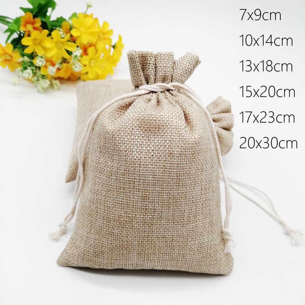 Bolsa De Regalo De Lino Natural Yute Bolsa de Cordón Arpillera Joyería caramelo bolsas de embalaje