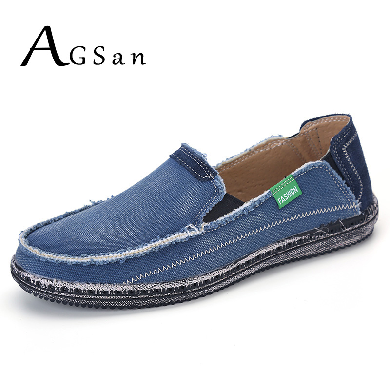 AGSan classic canvas shoes men lazy shoes blue grey canvas moccasins men slip on loafers washed denim casual flats big size 46