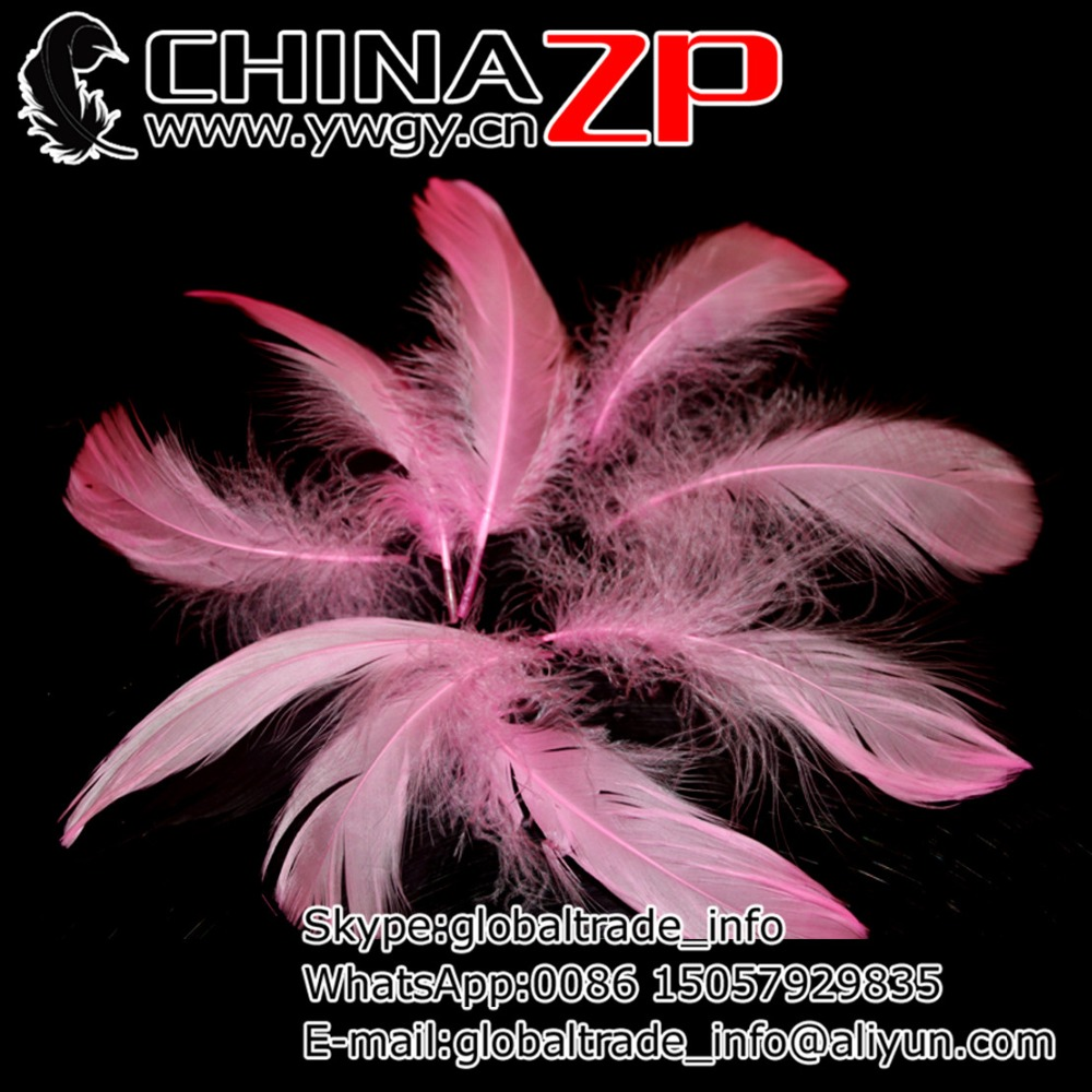 Gold Manufacturer CHINAZP Factory 100pcs/lot Top Quality Dyed Pink Decorative Goose Loose Coquille Feathers