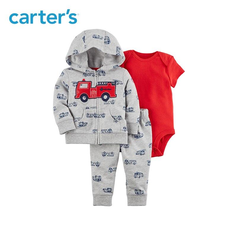 Carter's из 3 предметов для маленьких детей Детская одежда для мальчиков на весну и осень Firetruck принт курточку комплект 121I375