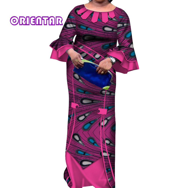 2019 African Dresses For Women Casual Flare Sleeve Long Maxi Dress Cotton African Print Women Clothing Plus Size WY4154
