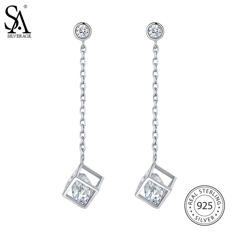 все цены на SA SILVERAGE Real 925 Sterling Silver Square Rhinestones Drop Earrings For Women Fine Jewelry Trendy Tassel Earrings Set 2018 онлайн