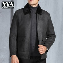 a0467552c0e Italy Brand Business Mens High Quality Faux Suede Leather Jacket Office Fur  Lining Winter Warm Coat