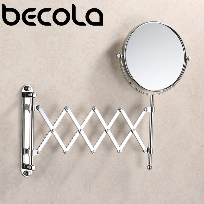 BECOLA  8 Inch 3X Magnifying Round Wall Make Up Mirror Two-Sided Retractable Bathroom Mirror 360 Degree Swivel Makeup Mirror