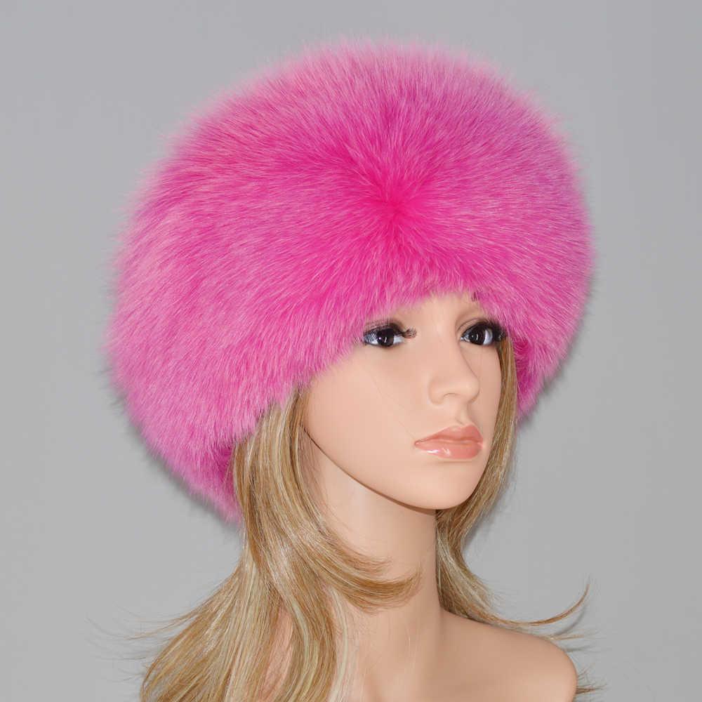 2019 Yeni Stil Kış Rus 100% Doğal Gerçek Tilki Kürk Şapka Kadın Kaliteli Gerçek Tilki Kürk Bombacı Şapka Sıcak Gerçek orijinal Fox Kürk Kap