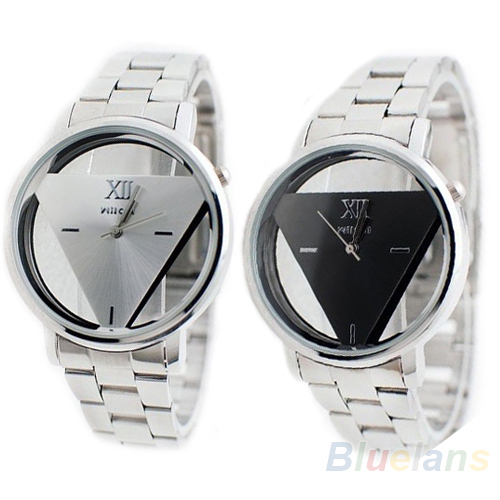 Unisex Men Women Lover Silver Stainless Steel Triangle Dial Quartz Wrist Watch Watches 02AY 3UJ4