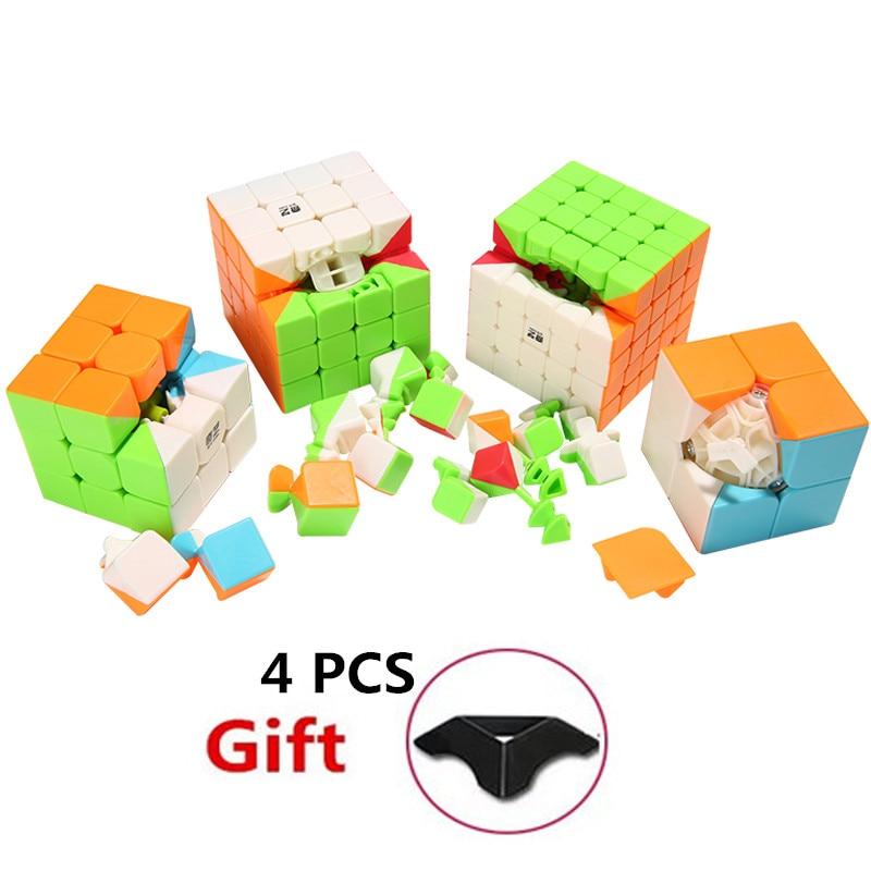 4 PCS/Set 2x2x2 3x3x3 4x4x4 5x5x5 Speed Magic Puzzle Cube Set Professional Educational Toys For Children Magic Speed Cube Set witeden 4x4x4 mixup professional magic cube puzzle speed cube educational toys