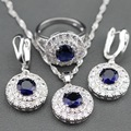 2017 New Blue Created Sapphire 925 Sterling Silver Jewelry Set Earrings / Pendant / Necklace / Ring For Women Free Gift Box