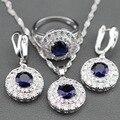 2017 Nova Azul Criado Sapphire 925 Sterling Silver Conjunto de Jóias Brincos/pendente/pendente da Colar/Anel Para As Mulheres Caixa de Presente Livre