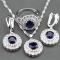 2017 Nuevo Azul Creado Sapphire 925 Sterling Silver Jewelry Set Pendientes/colgante/Collar/Anillo Para Las Mujeres Caja de Regalo Libre