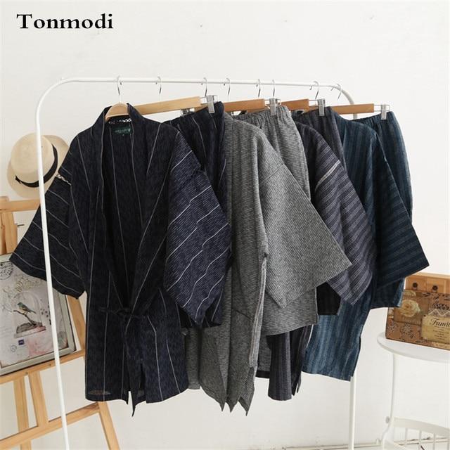 Кимоно Пижамы Для Мужчин Хлопка Кимоно Лето мужской Пижамы Lounge Пижамы Набор