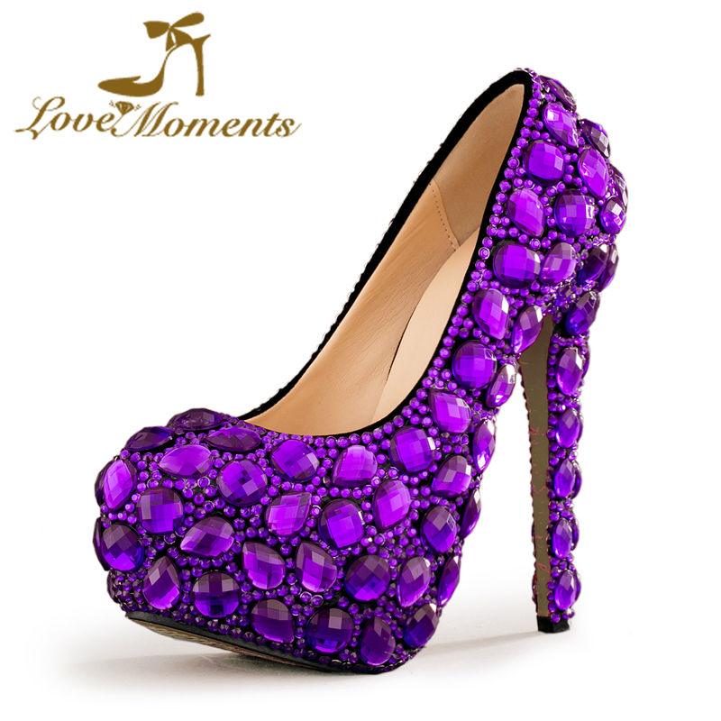 Love Moments Purple crystal shoes woman Wedding Shoes Bride Platform Gorgeous high heels ladies shoes Bridal Dress Shoes lo кожаный ремень lo