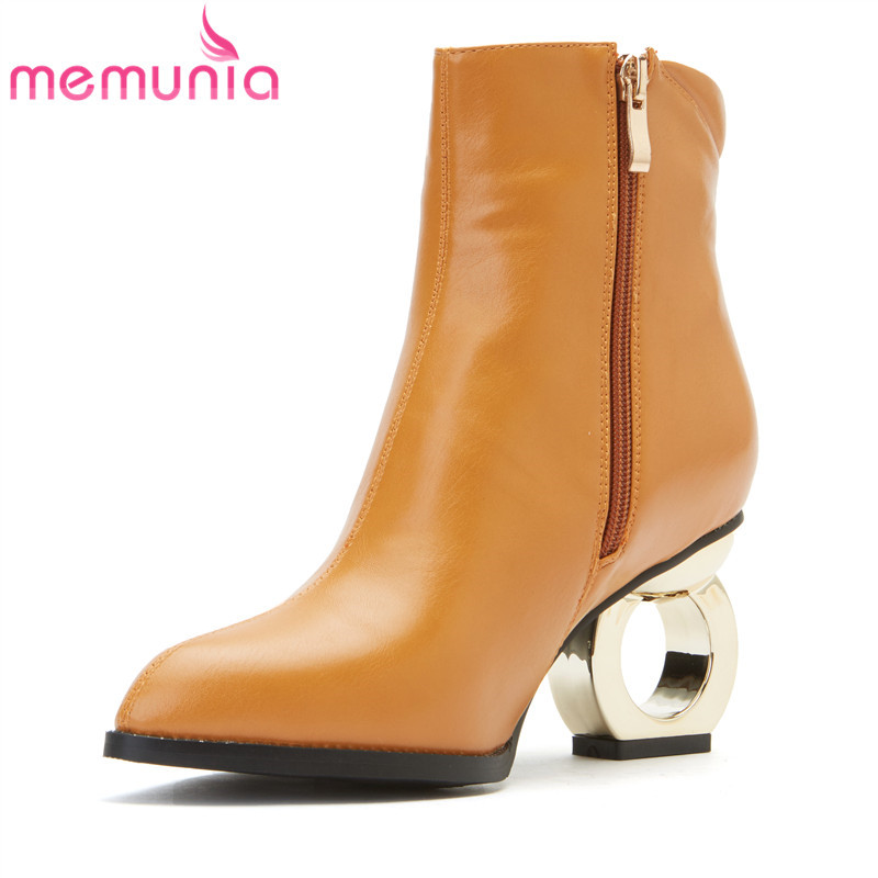 MEMUNIA new arrival high heels boots women 2018 pointed toe zip ankle boots solid unique pu leather boots large size 30-48 memunia big size 34 44 high heels shoes woman pu soft leather platform boots female zip solid ankle boots for women round toe