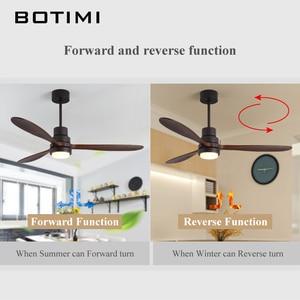 Image 3 - BOTIMI İskandinav ahşap 52 inç LED tavan vantilatörü oturma odası için Modern uzaktan soğutma tavan vantilatörleri ev aydınlatma fanı lambaları fikstür