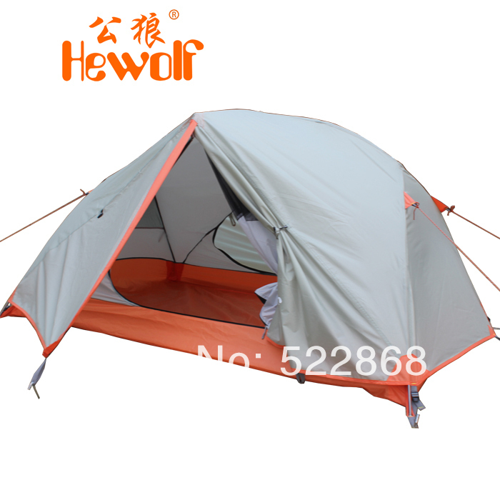 ФОТО Hewolf aluminum pole double layer outdoor camping equipment camping waterproof camping tent gazebo