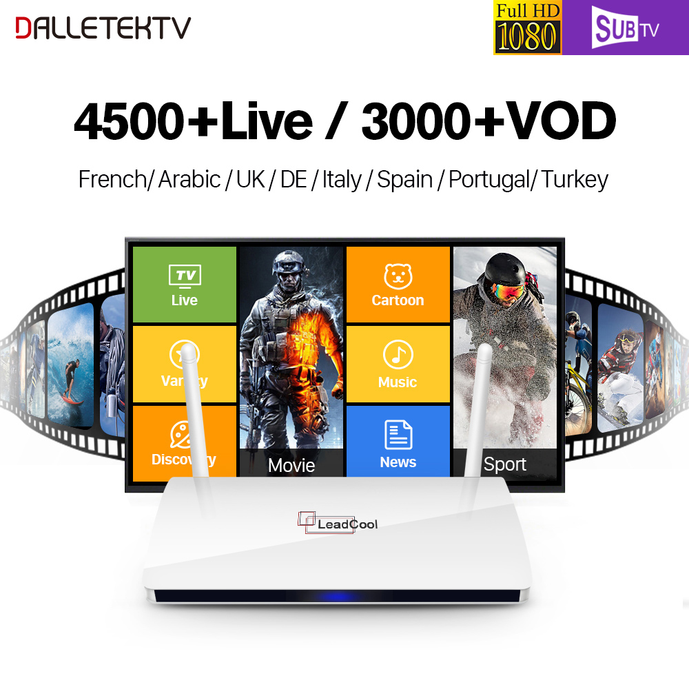 Dalletektv Leadcool TV Box Android 6.0 RK3229 1GB 8GB Smart Media Player 1 Year Subtv Code IPTV Europe French Arabic IPTV Box best french iptv dalletektv leadcool smart tv android iptv box europe swedish arabic 2500 channels 1 year iudtv iptv stb box