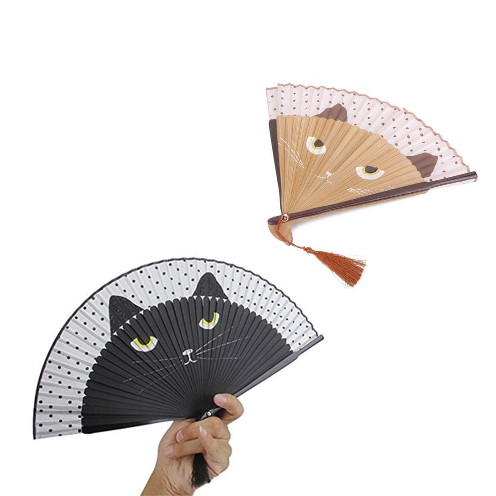 Summer Silk Bamboo Folding Fan Hand Held Flower Cartoon Cat Baking Varnish Handle Fan Pocket Gifts Wedding Party Supplies