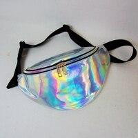Imperméable Taille sac 2017 Arc-En-Transparent PVC Sac Argent Hologramme Laser étanche ceinture multi-fonctionnelle poches voyage sac