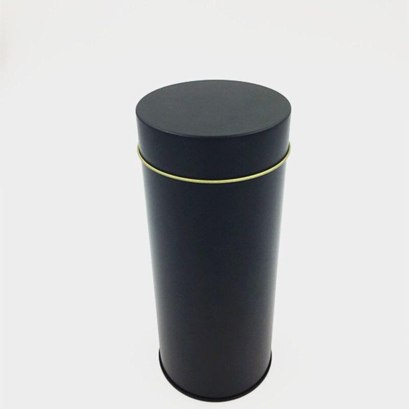 Dia 75*175mm Round Black tea tin box candy storage box