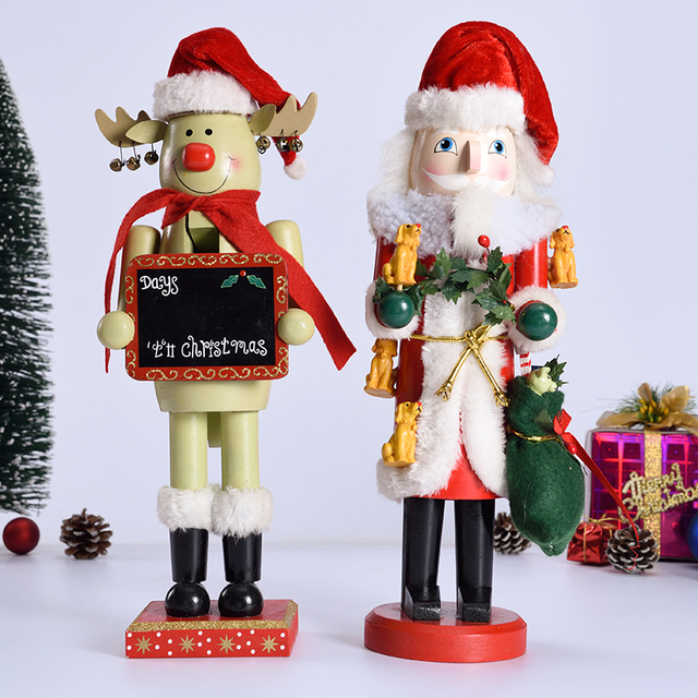 1pc 36cm christmas ornaments nutcrackers doll handcraft home decoration santa claus snowman rudolph design