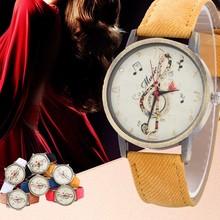 Musical note pattern Watch Women Fashion Casaul watches Creative Quartz Wristwatch Leather band Ladies Watch relogio drop ship#M