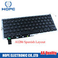 5PCS Original Spanish Keyboard For Apple Macbook Pro 15'' A1286 Spain Espain Keyboard With Backlight 2009 2010 2011 2012