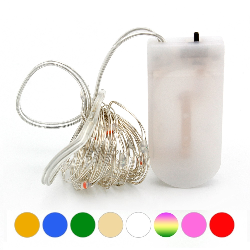2M 20 Leds Silver Wire Fairy Garland Lamp LED String Lights Christmas Wedding Home Party Decoration Powered By CR2032 Battery