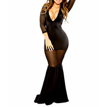 2015 neue Mode Frauen Sexy Black Lace Long Sleeve Elegante Durchsichtig Party Clubwear Cocktail Party Casual Kleid
