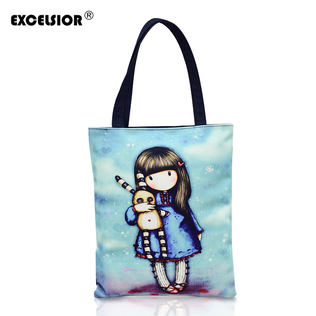 Aliexpress.com : Buy EXCELSIOR Women Canvas Beach Bag Cute girl ...