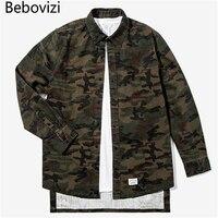 2017 Autumn New Washing Shirt Military Camouflage Extended Shirts Japanese Street Style Fashion Hip Hop Men