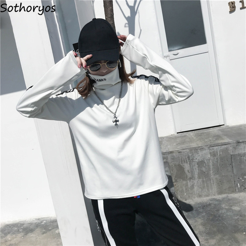 T-shirts Women Long Sleeve Turtleneck Striped Letter Embroidery Harajuku Womens Loose T-shirt Trendy Chic Korean Style All-match 2