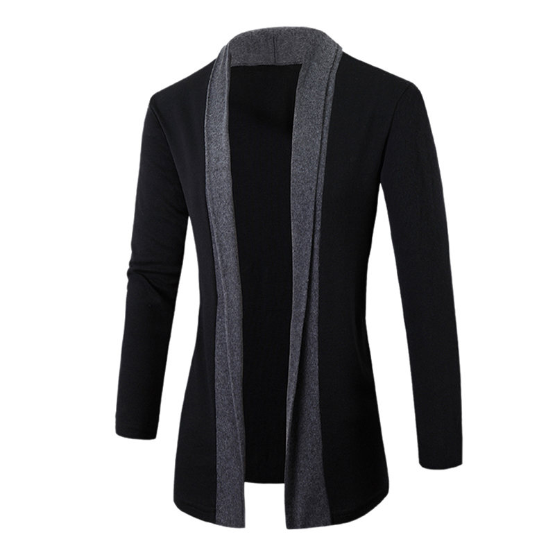 2017 Hot England Gentlemen Stylish Men Fashion <font><b>Knitted</b></font> Cardigan Jacket Slim Casual Long Sleeve Patchwork Mid-Long Sweaters Coat