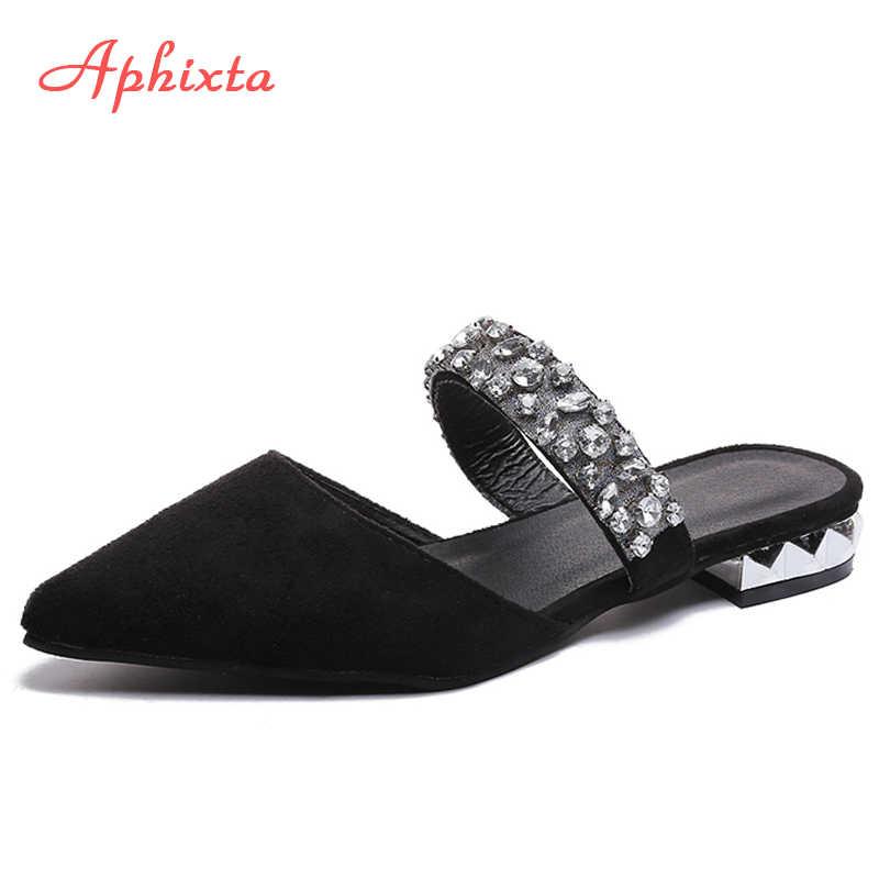 Aphixta/Большие размеры 34-44; тапочки с острым носком; замшевая обувь; женские вьетнамки на квадратном каблуке; Sandales Mujer; женские пляжные шлепанцы
