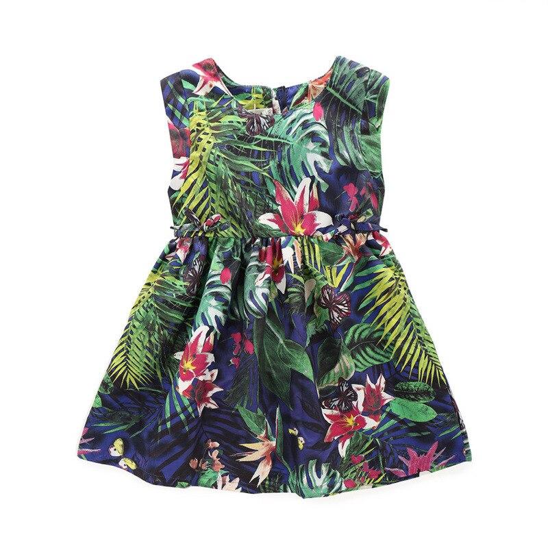 Summer Girls Dress Sleeveless Tropical Rainforest Cute Lovely Children Clothing Kids Butterfly Flower Printing Dresses