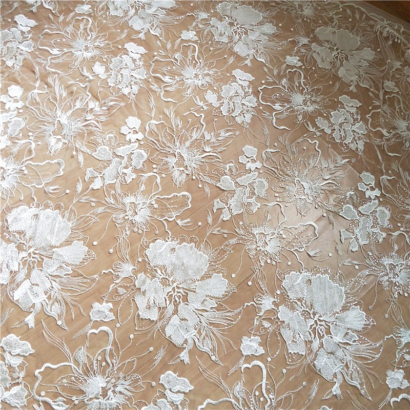 Elegant bride wedding dress bridal gowns sewing lace fabric shiny with sequins! 1 Yard Ivory color tulle mesh embroidery lace!