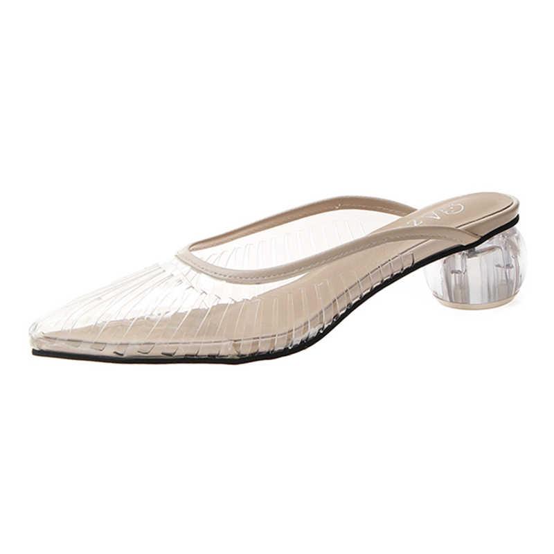 Moda Yeni Kadın Sandalet PVC Kristal Topuk Şeffaf Kadın Katır Şeffaf Yüksek Topuklu Yaz Sandalet Ayakkabı Pompaları Sandalet Üzerinde Kayma