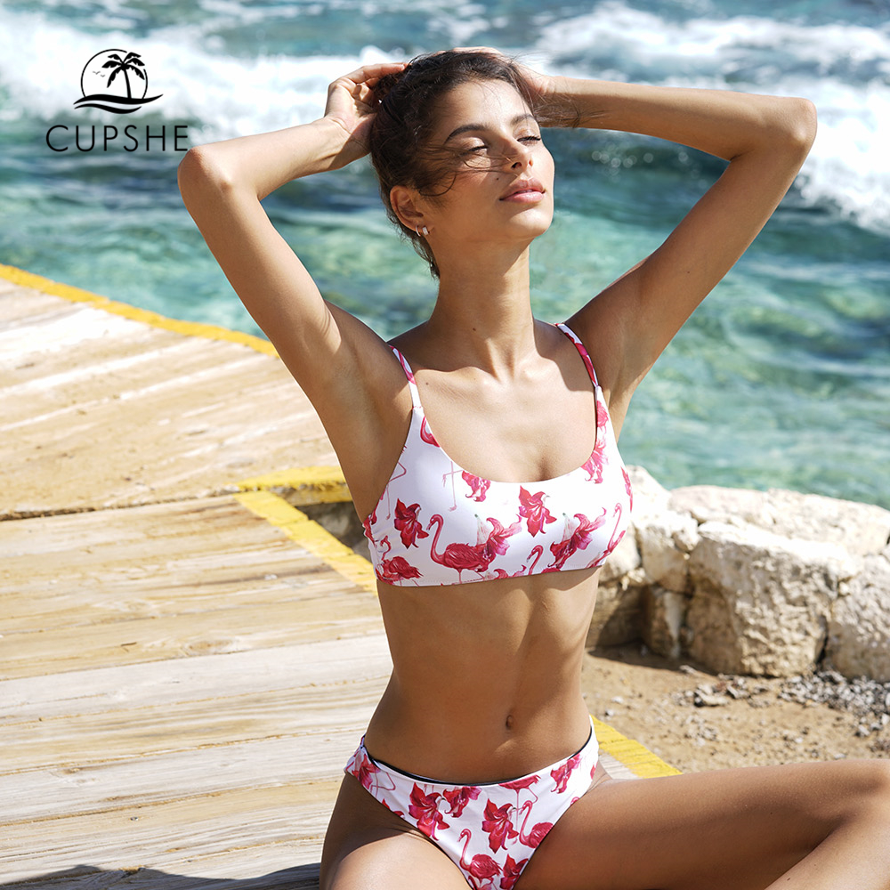 CUPSHE Flamingo Free To Fly Print Bikini Set Women Low-waisted Thong Two Pieces Swimwear 2020 Reversible Bathing Suits Swimsuits