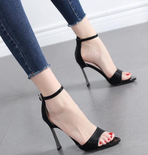 Tacones Fino De El Negro Verano Carpaton Zapatos Alto Mujer Sandalias Correa Con Tobillo Beige Tacón Azul Finos Vestir En 53cAqLRj4