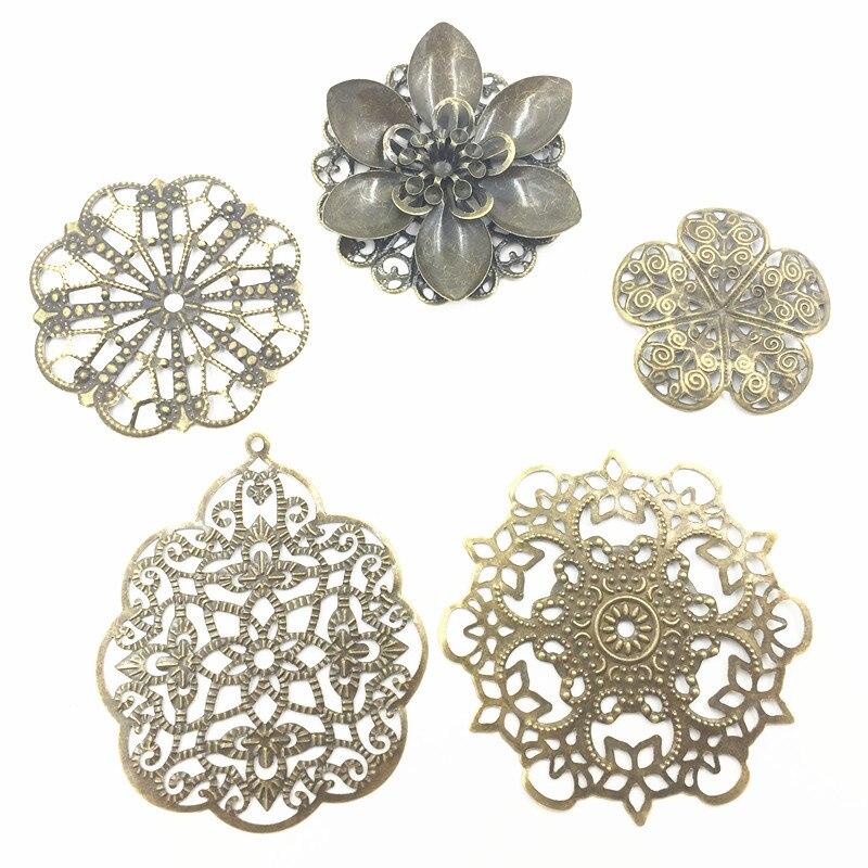 10Pcs Antique Bronze Tone Lotus Flowers Alloy Embellishments Connectors Filigree Wraps Hollow Pattern Jewelry DIY Findings
